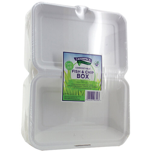 Caterpack Biodegradable Hinged Fish and Chip Container Pack of 50 RY10573 / B030