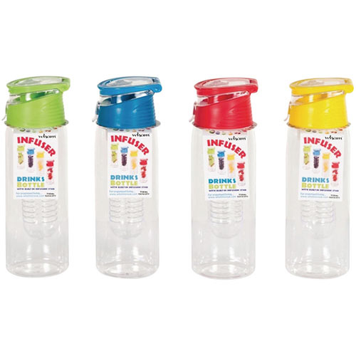 Infuser Water Bottle 750ml Assorted Pack of 12 20097