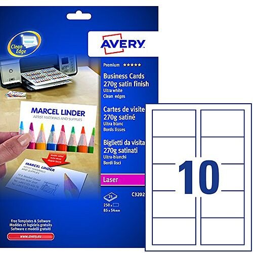 Avery C32026-25 Business Cards 85 x 54mm Satin Ultra White Laser 270gsm 85 x 54 Pack 250
