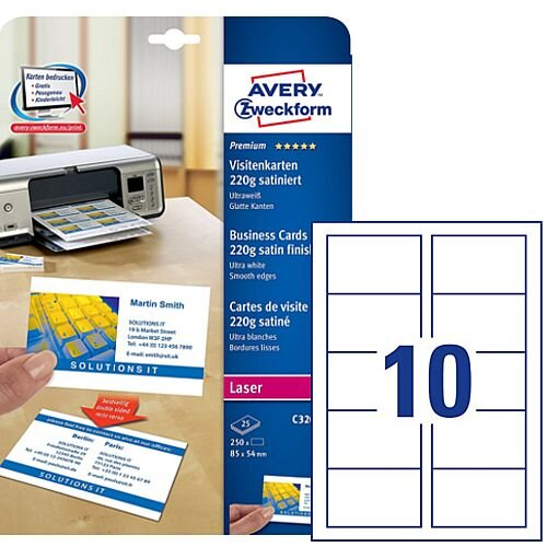 Avery C32016-25 White Satin Business Cards 85 x 54mm Laser 220gsm 250 Cards