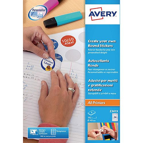 Avery Create Your Own Reward Stickers 8 x 24 Labels (192 in Total) E3613