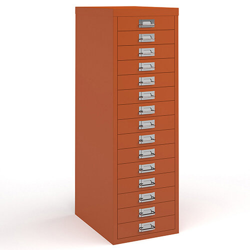 Bisley multi drawers with 15 drawers - orange