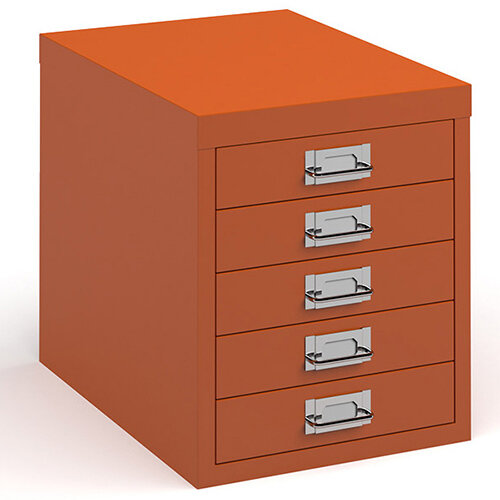 Bisley multi drawers with 5 drawers - orange