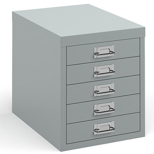 Bisley multi drawers with 5 drawers - silver