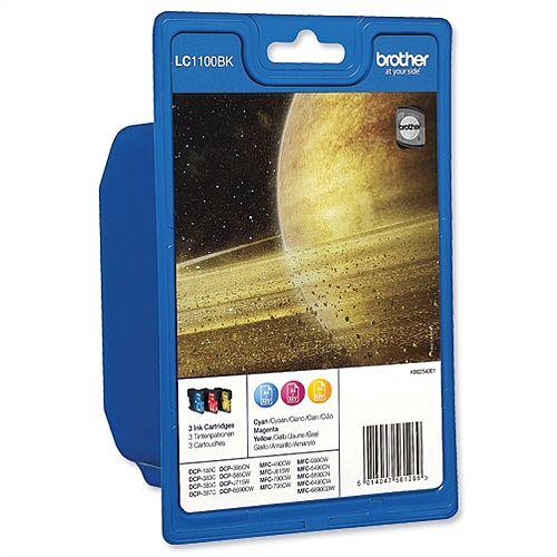 Brother LC-1100 Cyan/Magenta/Yellow Inkjet Cartridge Tri-Pack LC1100RBWBP