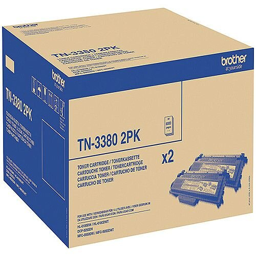 Brother TN-3380 Black High Yield Laser Twin Pack Toner Cartridges