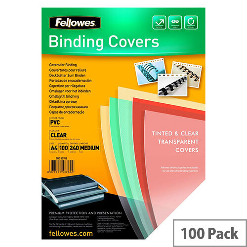 Fellowes Transpsarent Plastic Covers 240 Micron Pack of 100 53762
