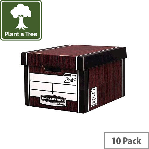 Fellowes Bankers Box Premium 725 Classic Archive Storage Box Woodgrain Pack 10