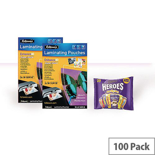 Fellowes A4 Super Quick Laminating Pouch 80 Microns Pouches Ref. 53061 (Pack of 100)