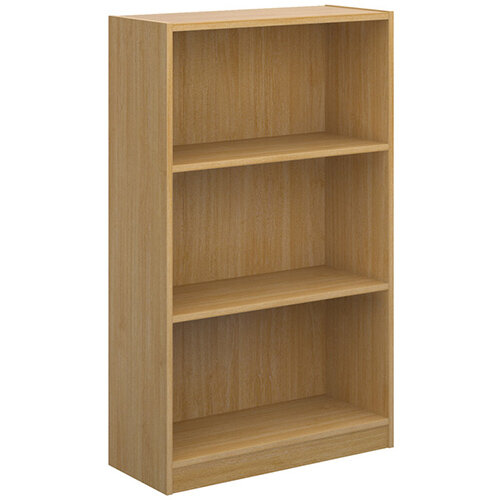 Economy bookcase 1236mm high with 2 shelves - oak