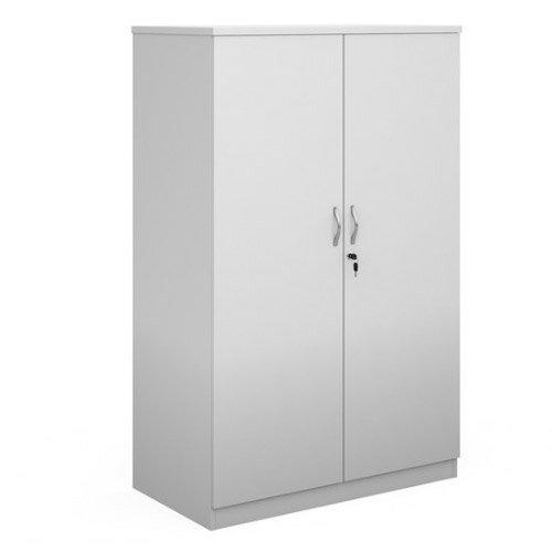 Deluxe Double Door Cupboard 1600Mm High With 3 Shelves - White