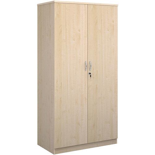 Deluxe double door cupboard 2000mm high with 4 shelves - maple