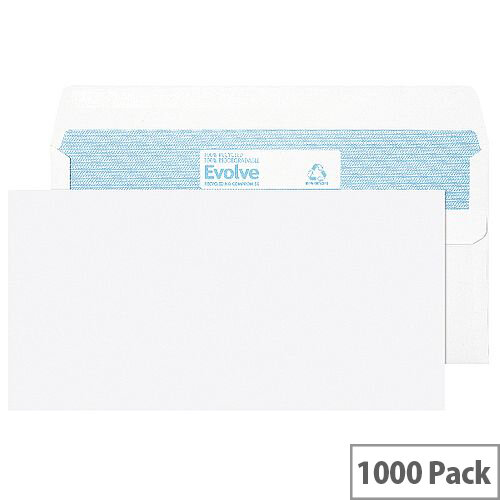 Evolve DL Recycled Envelope Self Seal White 90gsm Pack of 1000
