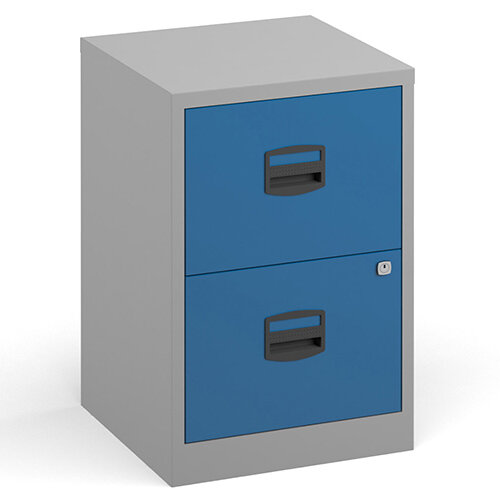 Bisley A4 Home Filer Steel Filing Cabinet With 2 Drawers - Grey With Blue Drawers