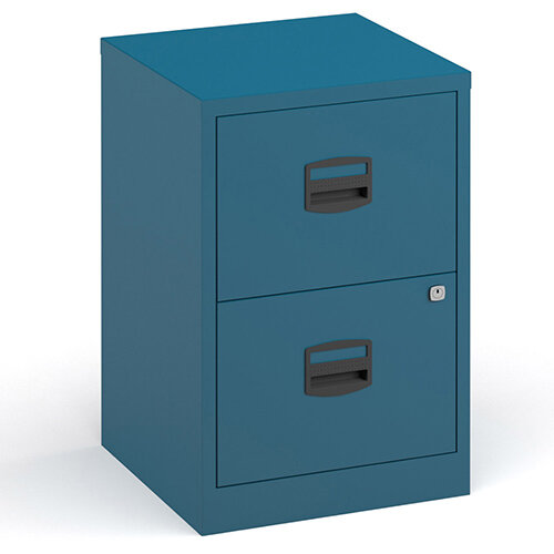 Bisley A4 Home Filer Steel Filing Cabinet With 2 Drawers - Blue
