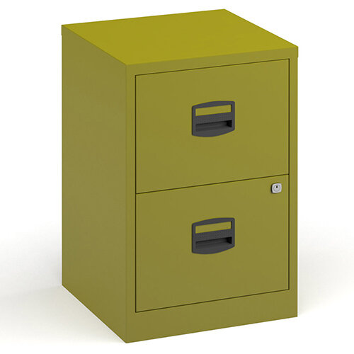 Bisley A4 Home Filer Steel Filing Cabinet With 2 Drawers - Green