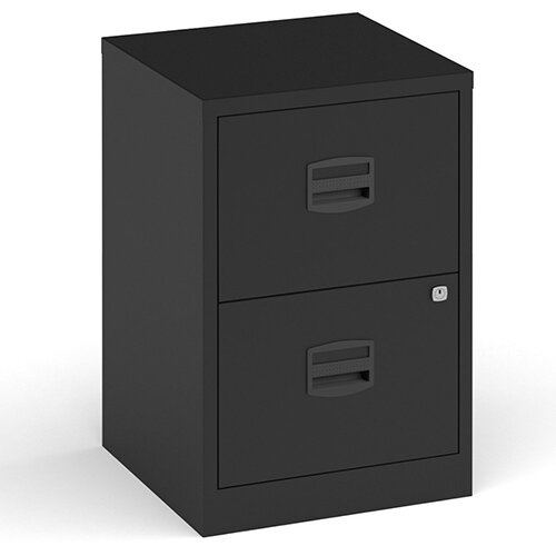 Bisley A4 Home Filer Steel Filing Cabinet With 2 Drawers - Black