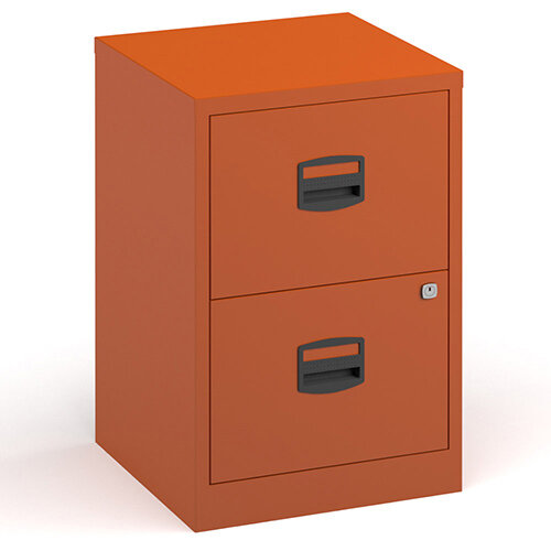 Bisley A4 Home Filer Steel Filing Cabinet With 2 Drawers - Orange