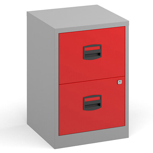 Bisley A4 home filer with 2 drawers - grey with red drawers
