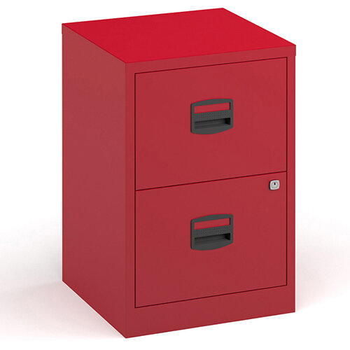 Bisley A4 Home Filer Steel Filing Cabinet With 2 Drawers - Red