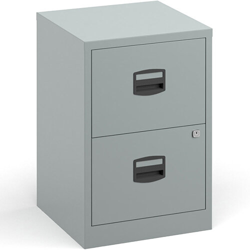 Bisley A4 Home Filer Steel Filing Cabinet With 2 Drawers - Silver