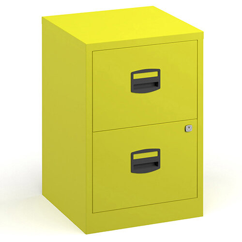 Bisley A4 Home Filer Steel Filing Cabinet With 2 Drawers - Yellow
