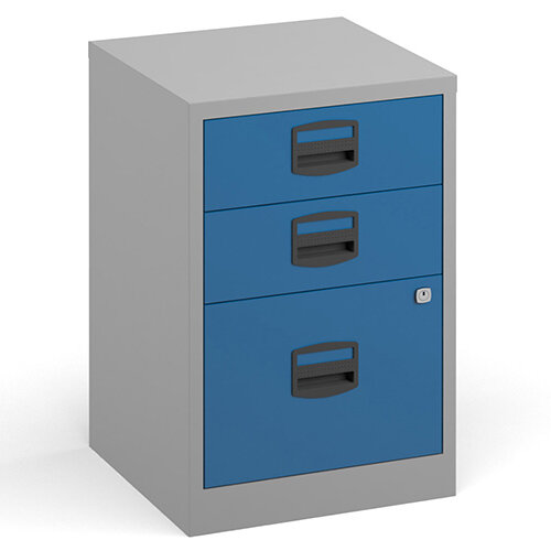 Bisley A4 home filer with 3 drawers - grey with blue drawers