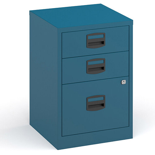 Bisley A4 Home Filer Steel Filing Cabinet With 3 Drawers - Blue