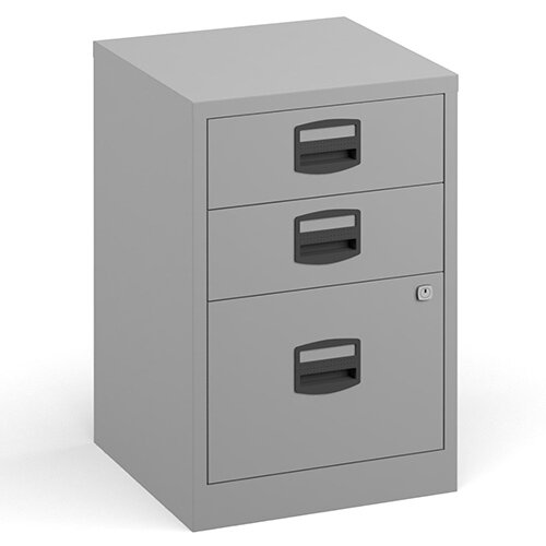Bisley A4 Home Filer Steel Filing Cabinet With 3 Drawers - Grey