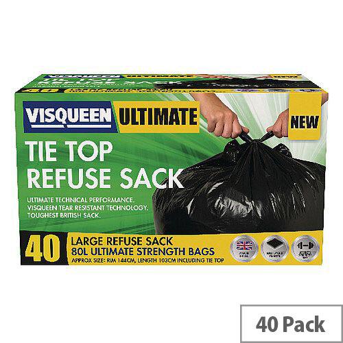 Visqueen Ultimate Tie Top Refuse Sacks 80 Litre Black (Pack of 40 Sacks)