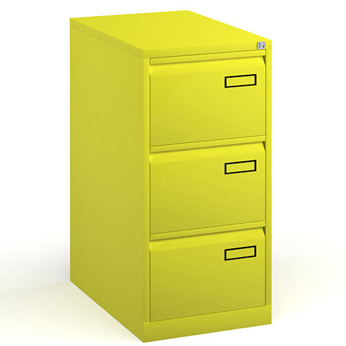 Bisley Steel 3 Drawer Public Sector Contract A4 Filing Cabinet 1016mm High - Yellow