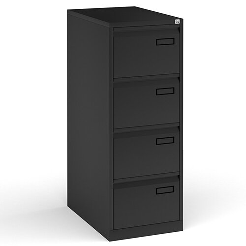 Bisley Steel 4 Drawer Public Sector Contract A4 Filing Cabinet 1321mm High - Black