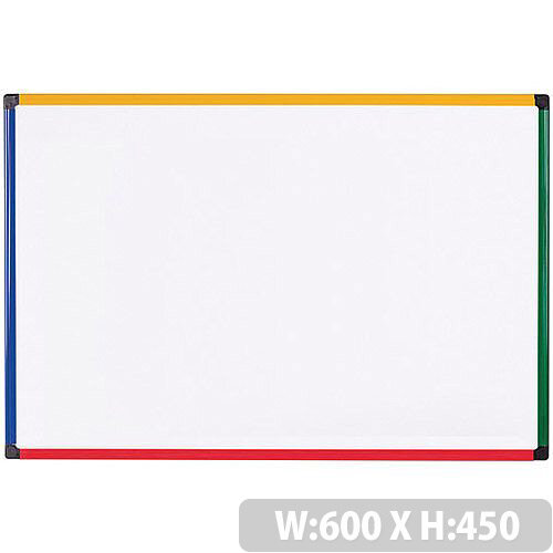 Bi-office Coloured Frame Magnetic Drywipe Whiteboard 600x450 MB0407866
