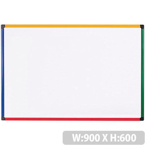 Bi-office Coloured Frame Magnetic Drywipe Whiteboard 900x600 MB0707866