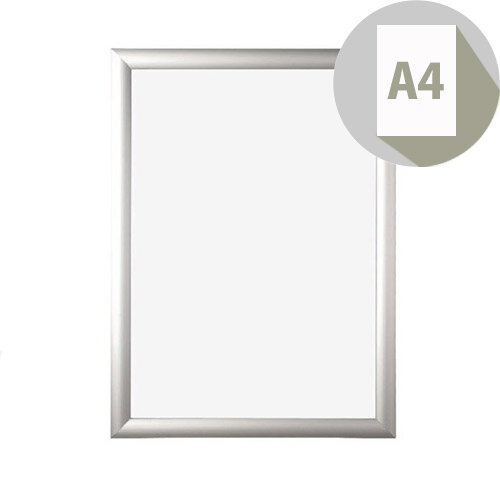 Bi-Office Clear Snap, A4 Silver Aluminium Frame With Wall Mount Kit, Ideal For Retail Office &Educational Use, Display Posters &Promotions