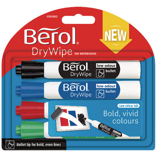Berol Drywipe Marker Standard Assorted Pack of 48 1984864