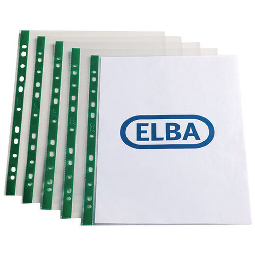 Elba Punch Pocket Green Spine A4 Clear 55 Micron Pack of 100 400002137
