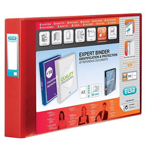 Elba Vision A3 4D-Ring Binder 30mm Oblong Red 100080866