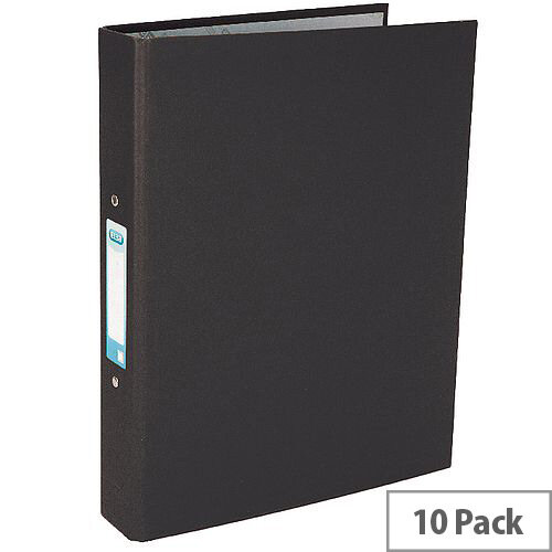 Elba A4 Black 25mm Paper Over Board Ring Binder Pack of 10 400033495