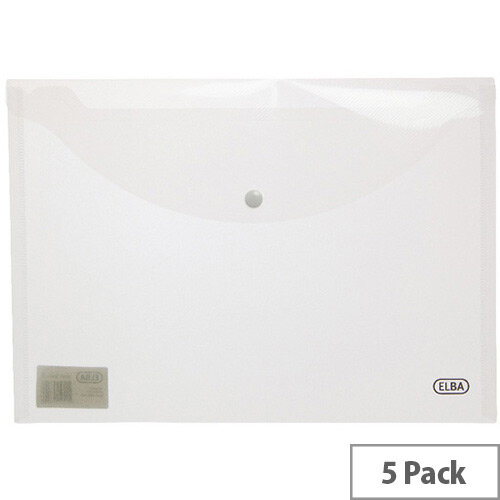Elba Snap A4 Wallet Polypropylene Clear 100080924 Pack of 5