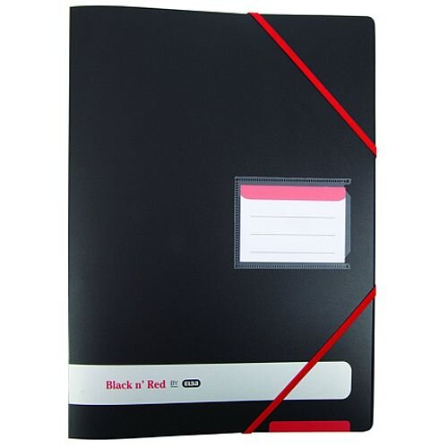 Black n Red Ring A4 Binder Plus 16mm 4 Ring Black 400078863