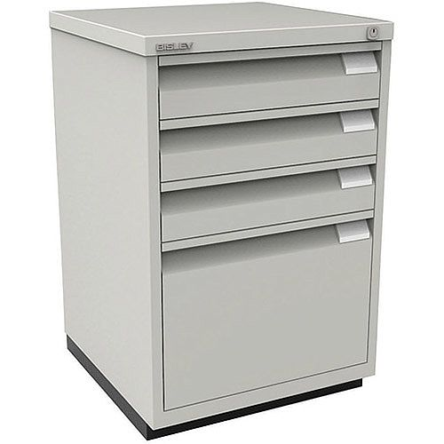 Bisley Flush Fronted Filing Cabinet With 3 Stationery &1 Filing Drawer Lockable Goose Grey 1F3E