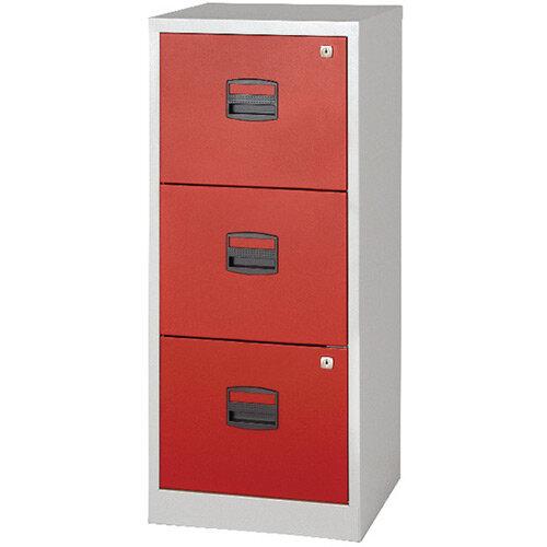 Bisley A4 Homefiler 3 Drawer Grey Red BY78728