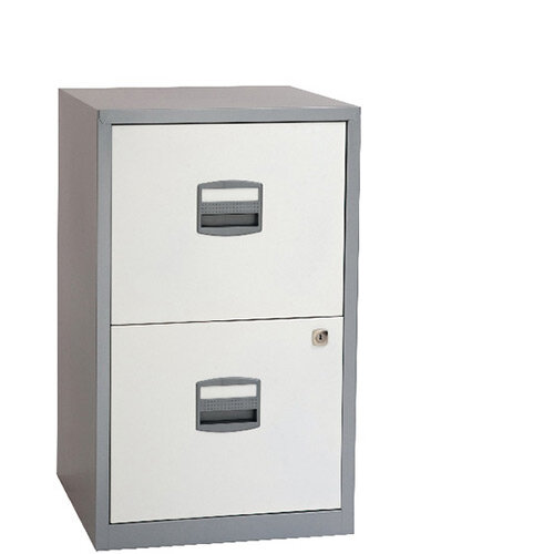 Bisley A4 Homefiler 2 Drawer Silver White BY78731