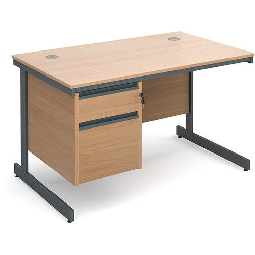 Maestro cantilever leg straight desk with 2 drawer pedestal 1228mm - beech
