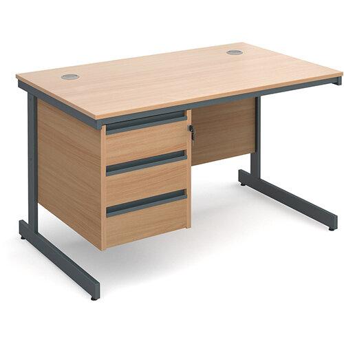 Maestro cantilever leg straight desk with 3 drawer pedestal 1228mm - beech