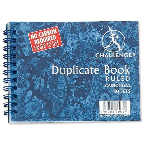 Challenge Duplicate Book Carbonless Wirebound Ruled 105x130mm Pack 5