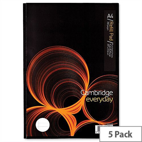 Cambridge Sidebound Refill Pad A4 Margin 70gsm 200 Pages C77122 Pack 5