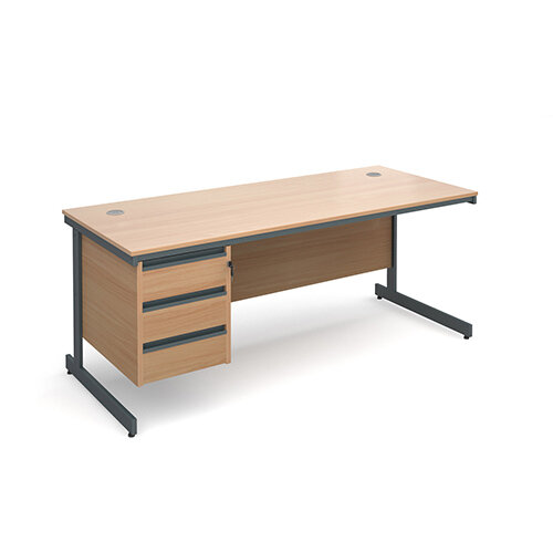 Maestro cantilever leg straight desk with 3 drawer pedestal 1786mm - beech