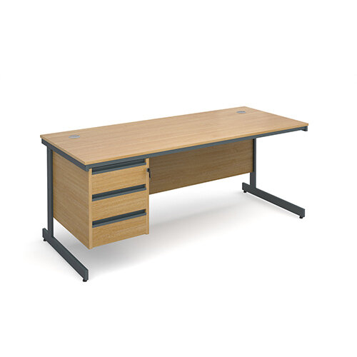 Maestro cantilever leg straight desk with 3 drawer pedestal 1786mm - oak